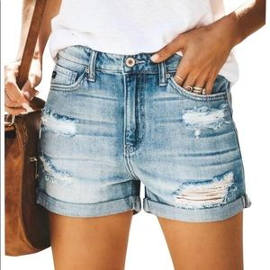 Kancan High Rise Cuff Destructed Jean Shorts